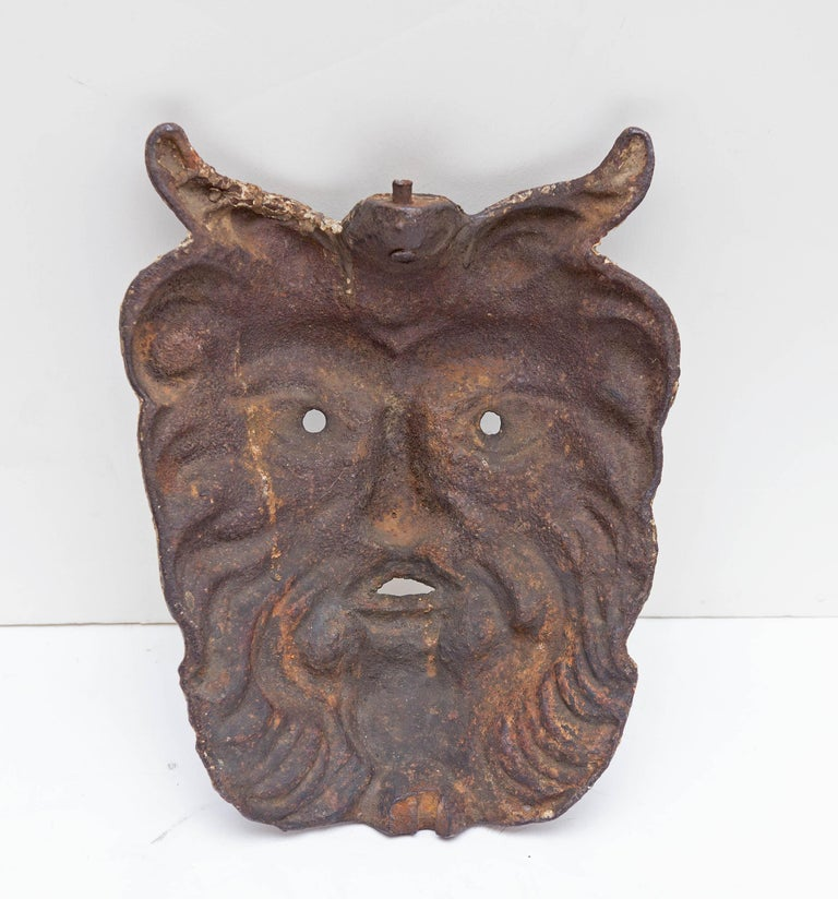 19th Century Cast Iron Satyr Mask In Good Condition For Sale In Rochester, NY