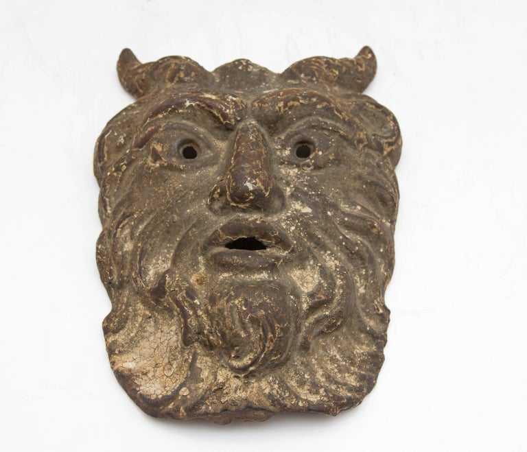 Metal 19th Century Cast Iron Satyr Mask For Sale