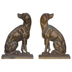 "19th Century Cast Iron ""Shorthaired Pointer"" Andirons, circa 1880s"