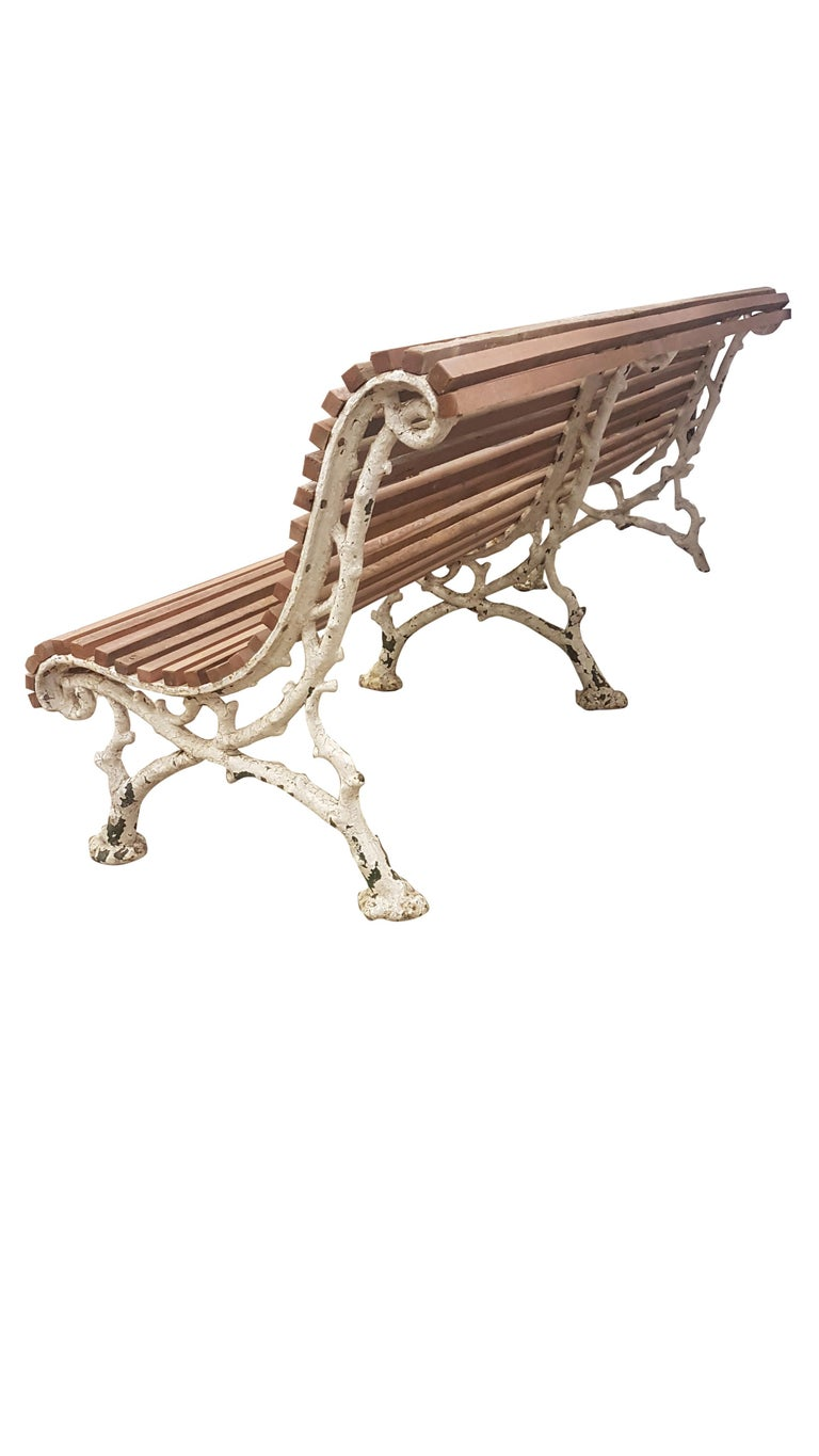 19th Century Cast Iron Slated Garden Bench 3