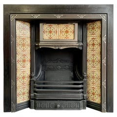 19th Century Cast-Iron Tiled Fireplace Insert