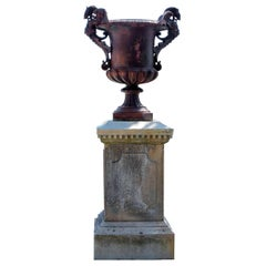 19th Century Cast Iron Vase and French Limestone Pedestal Base