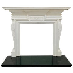 19th Century Cast-iron White Fireplace Mantlepiece
