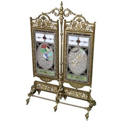 19th Century Cast Solid Brass Victorian Jeweled Stained Glass Firescreen