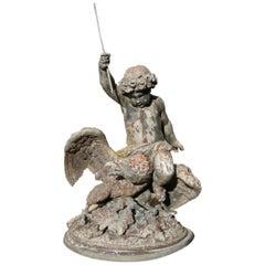 19th Century Cast Zinc Sculpture, Putti Riding an Eagle