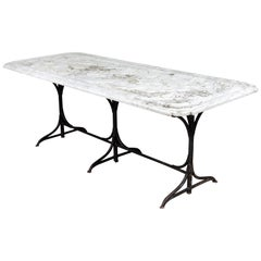 19th Century Castel Franco Hand Chiseled Marble Table with Iron Base