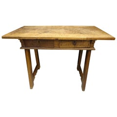 19th Century Castilian Spanish Walnut Wood and  Wrought Iron Keyhole Table
