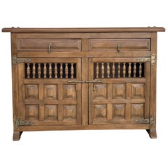 19th Century Catalan Baroque Carved Walnut Tuscan Two Drawers Credenza or Buffet