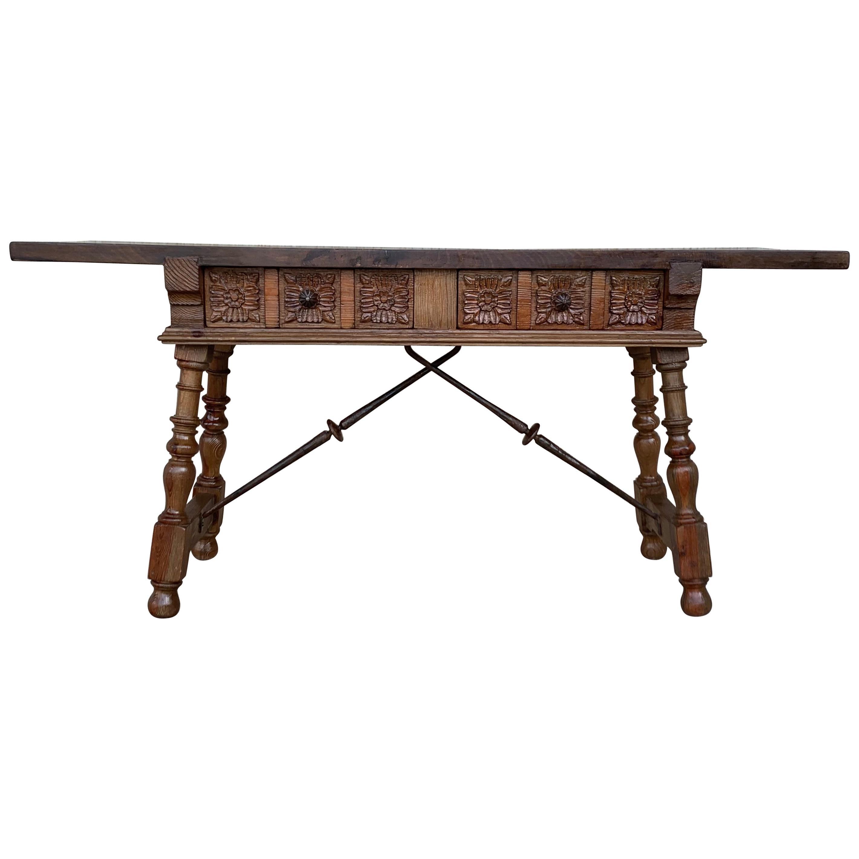 19th Century Catalan Spanish Baroque Walnut Trestle Console Table, Restored