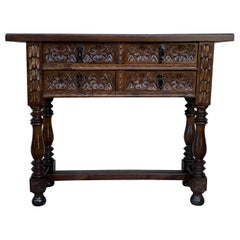 19th Century Catalan Spanish Carved Walnut Console Sofa Table, Four Drawers