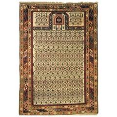 19th Century Caucasian Dagestan White Background and Diamond Pattern Rug, ca1890