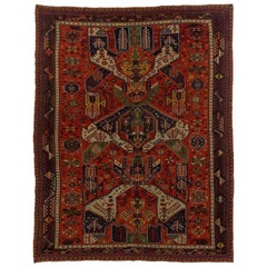 19th Century Caucasian Dragon Sumak Rug Hand-Knotted in Wool Red Green Yellow