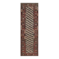 19th Century Caucasian Ivory, Red and Black Hand Knotted Wool Runner