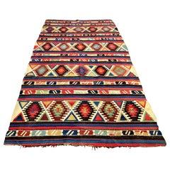 19th Century Caucasian Kilim Oriental Carpet
