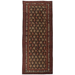 19th Century Caucasian Red, Gold and Blue Handwoven Wool Rug