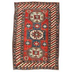 19th Century Caucasian Rug Geometric Kazak Design, circa 1875-1900