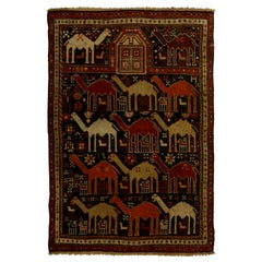19th Century Caucasian Shirvan Camel, Dark Blue and Orange Handwoven Wool Rug
