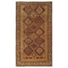19th Century Caucasian Shirvan Handmade Wool Rug in Brown, Coral, Orange & Ivory
