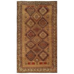 19th Century Caucasian Shirvan Handmade Wool Rug in Brown, Coral, Orange & Ivory