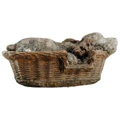 19th Century Cement Dog in Basket