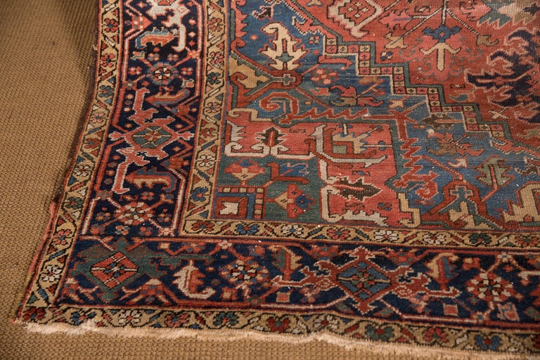 Hand-Knotted 19th Century Beautiful Antique Heriz Rug For Sale