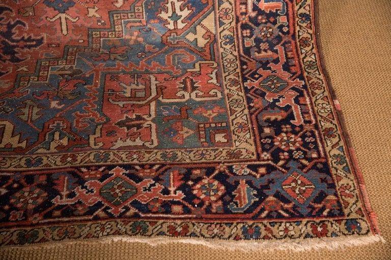 Wool 19th Century Beautiful Antique Heriz Rug For Sale