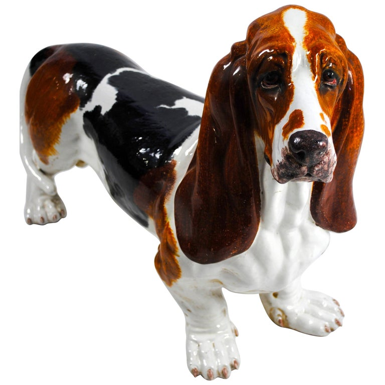 19th Century, Ceramic Figure of a Life-Size Basset Hound For Sale