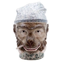 19th Century Ceramic Monkey Tobacco Jar