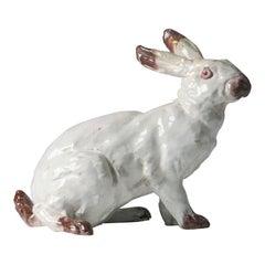 19th Century Ceramic Sculpture of a Rabbit by J. Filmont Caen, France