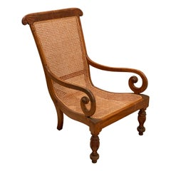 19th Century Ceylonese Solid Satinwood Caned Reading Chair
