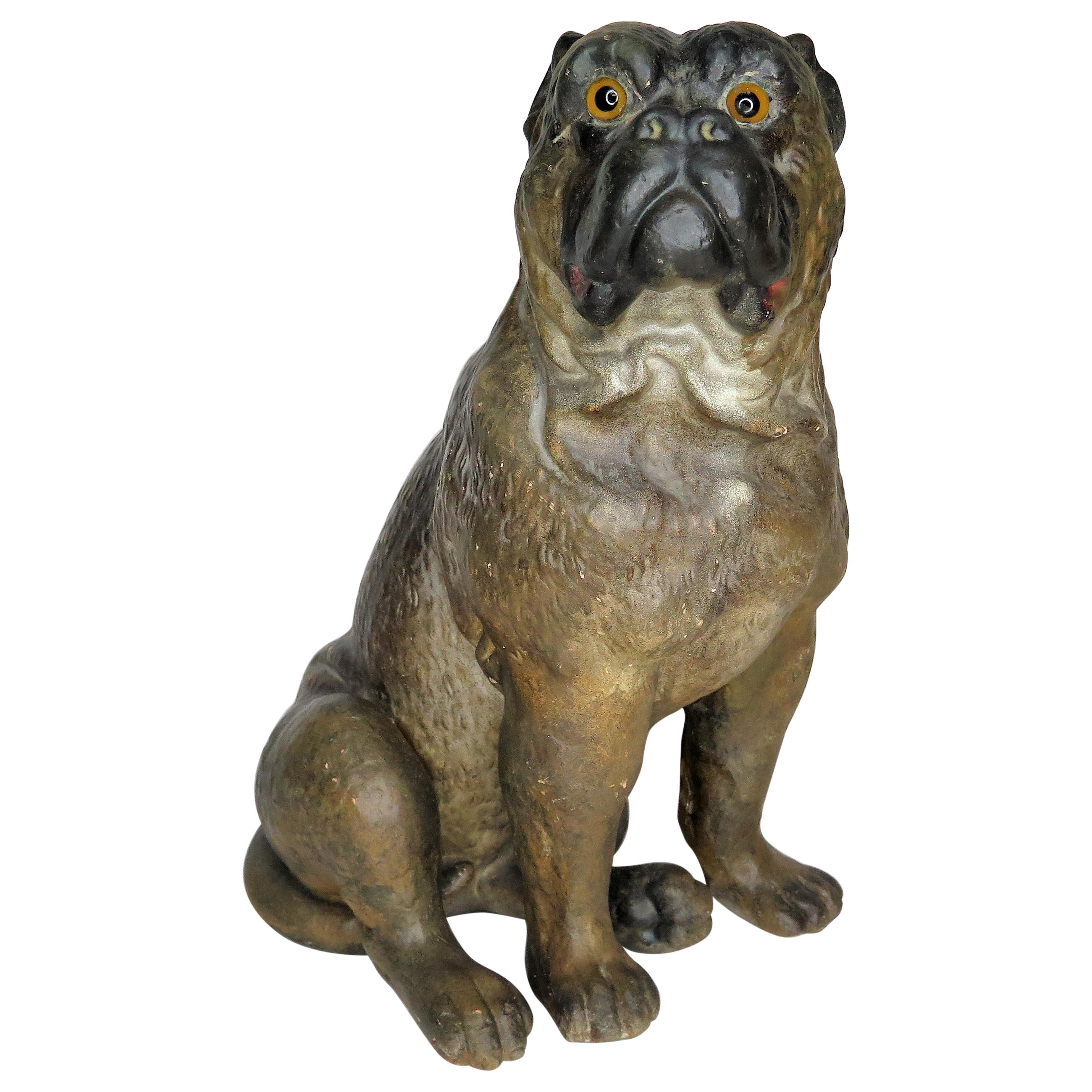 A 19th Century Terracotta Painted Dog Figure / Boxer with Glass Eyes