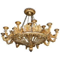 19th Century Chandelier 18 Armed Carved Wood Probably Laves Draft Oil Gilding