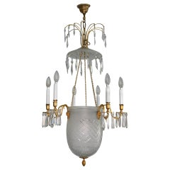 19th Century Chandelier Sweden or Baltic States Cut Glas Gilded