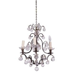 19th Century Chandelier with Round Crystal Glass Drops