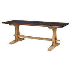 19th Century Character Oak Trestle Dining Table