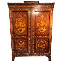 19th Century Charles X Dutch Inlay Mahogany Armoires, 1830s