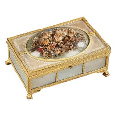 19th Century Charles X Gilt Bronze and Mother of Pearl Box with Flowers