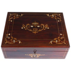 19th Century Charles X Inlayed Jewelry Box, France, Mahogany with Marquetry