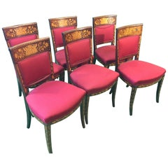 19th Century Irish Revival Charles X Mahogany Inlay Chairs by Millar&Beatty,1860