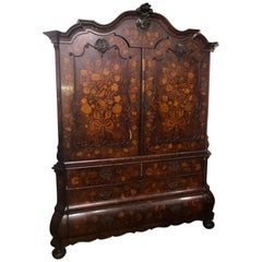 19th Century Charles X Walnut Inlay Wardrobes Armoires Cabinet, 1830