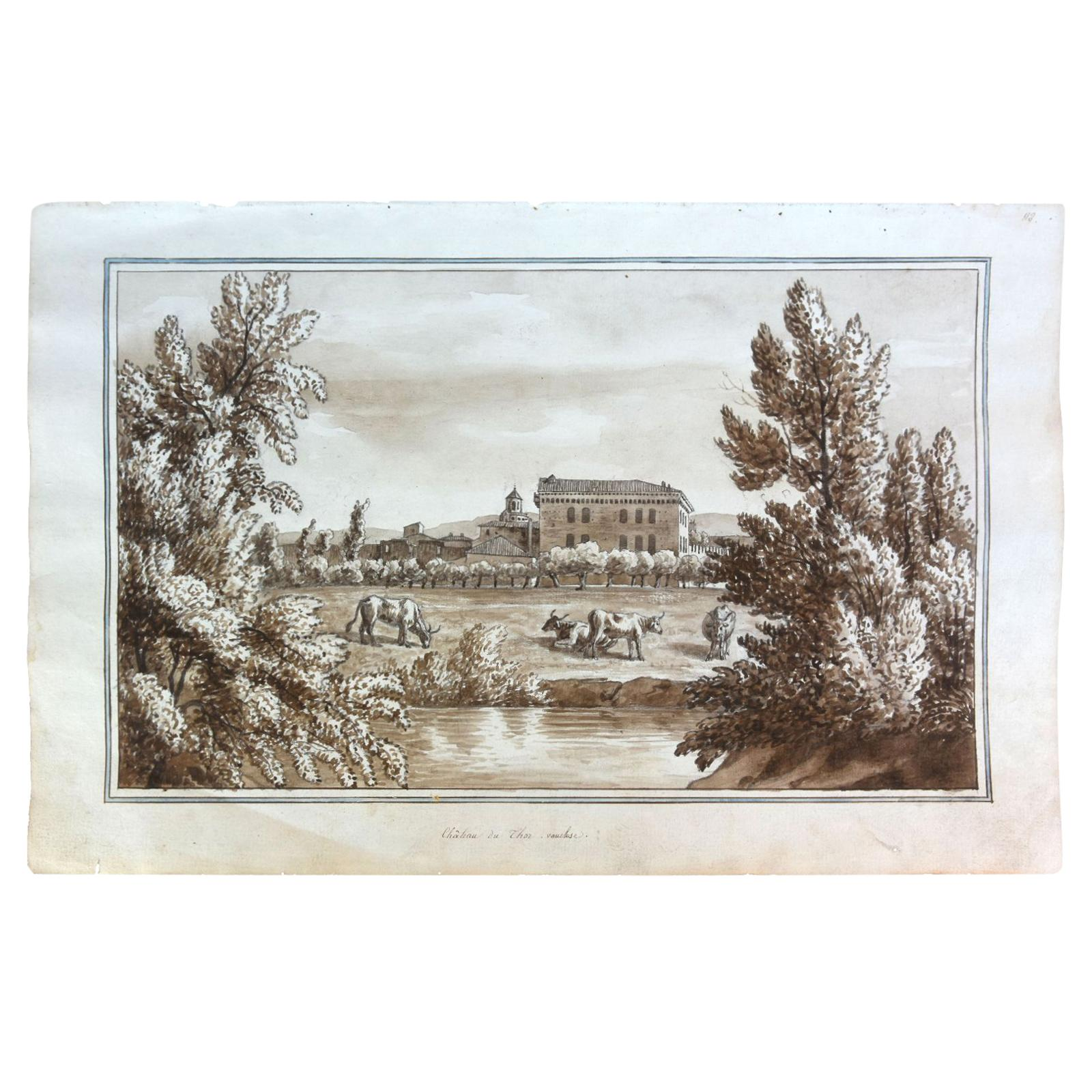 """19th Century """"Château du Thor"""" Watercolor Drawing on Paper from the 18th Century"""