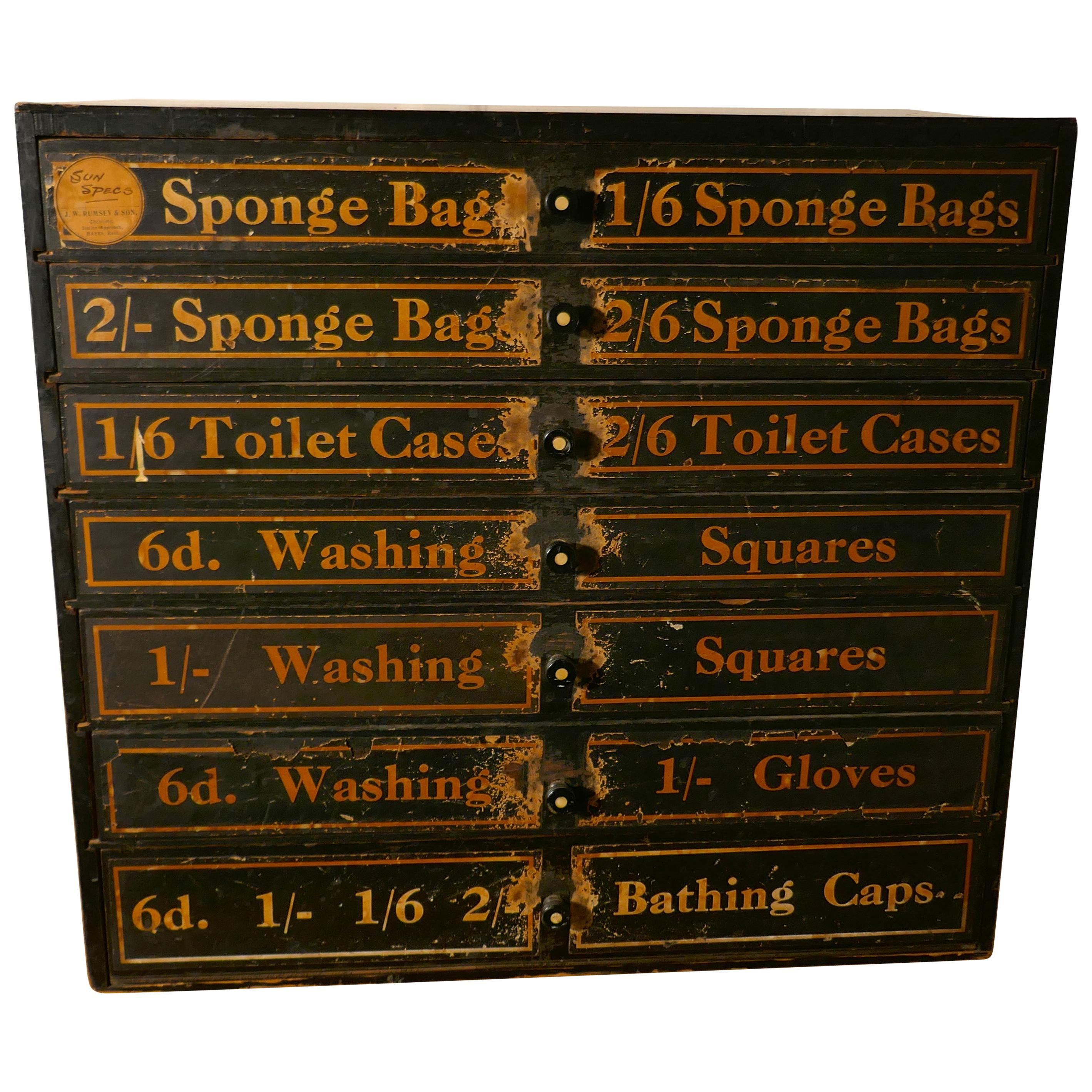19th Century Chemist Shop Drawers, 7 Drawer Pharmacists Cabinet