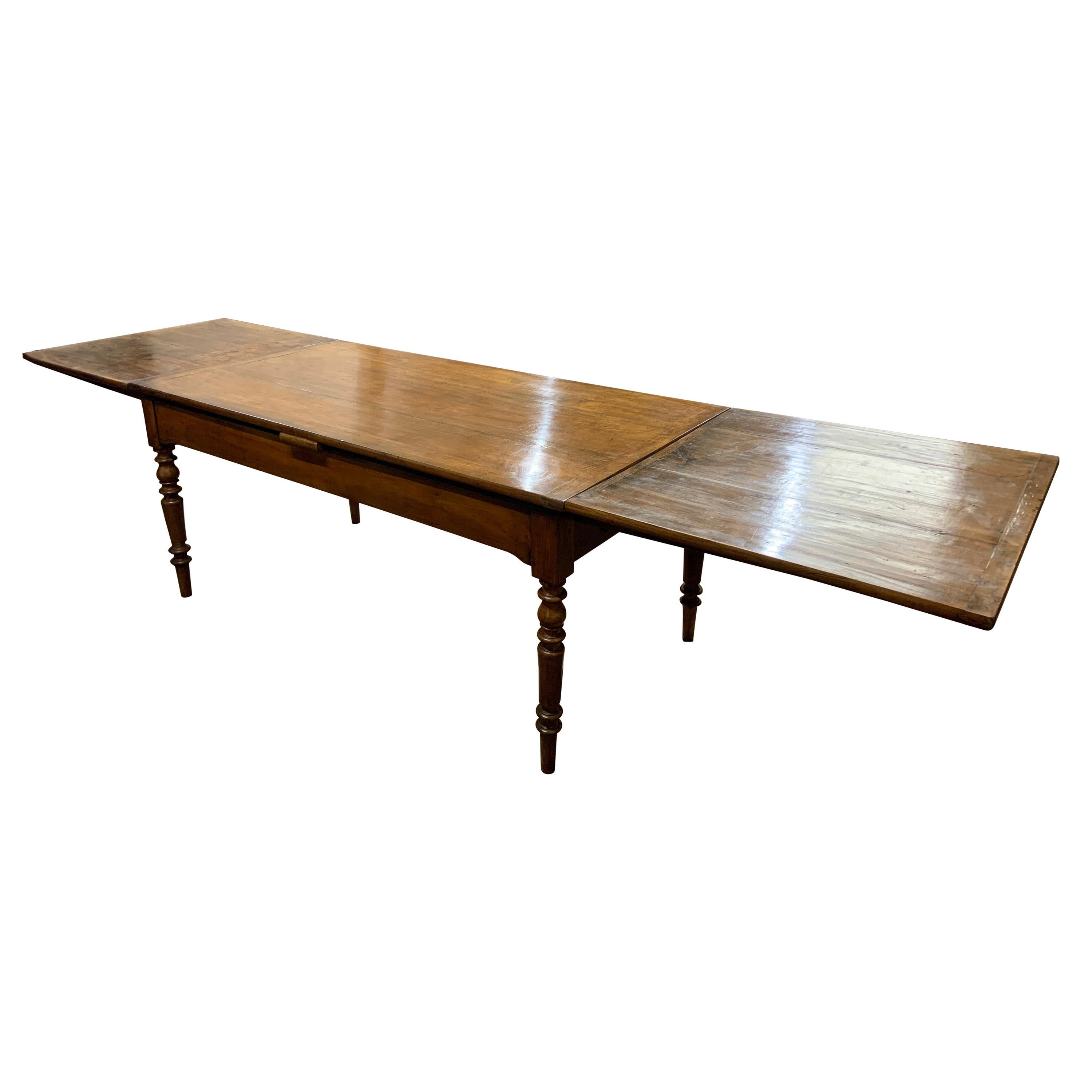 19th Century Cherry Double Draw Leaf Table