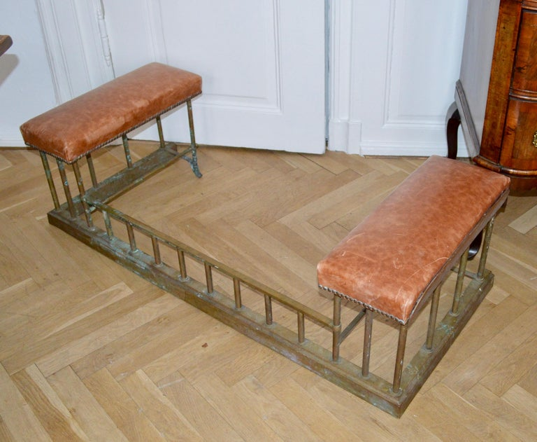 19th Century Chesterfield Brass Fire Fender Bench For Sale 5