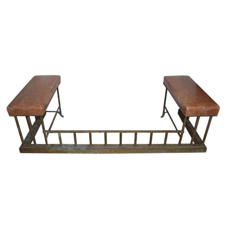 Brass and leather club fire fender bench in solid vintage brass with leather hide seats.