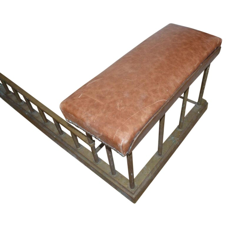 19th Century Chesterfield Brass Fire Fender Bench For Sale 2
