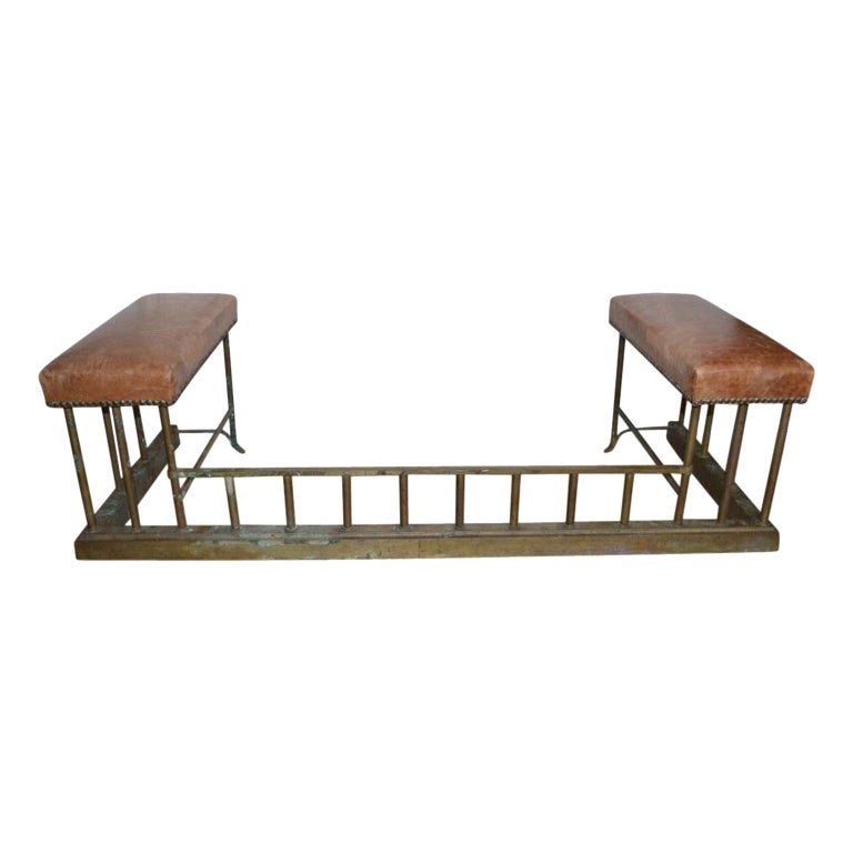 19th Century Chesterfield Brass Fire Fender Bench For Sale