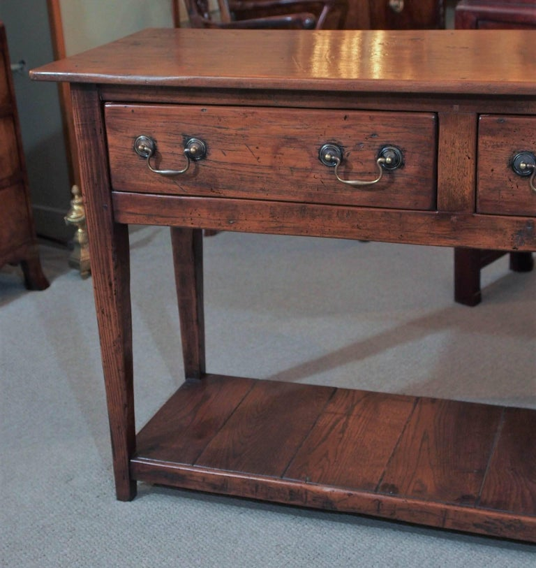 French 19th Century Chestnut Dresser Base with Pot Board For Sale
