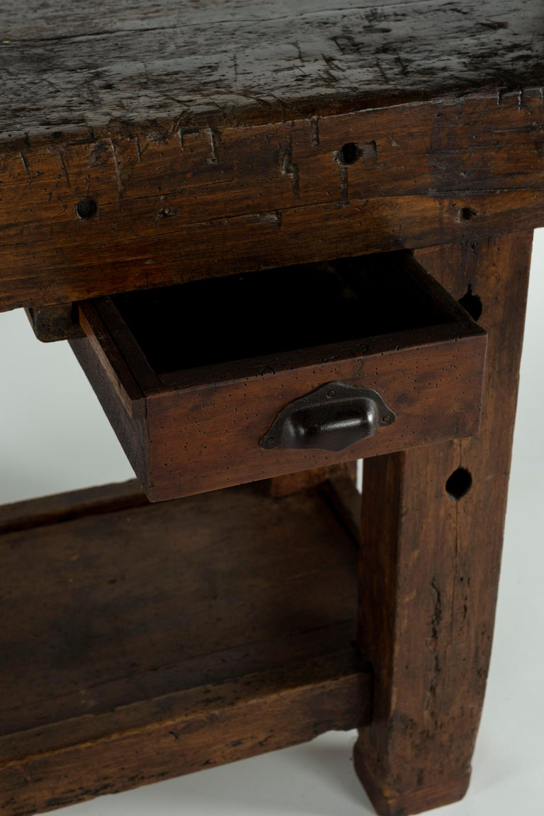19th Century Chestnut Workbench Console For Sale 5
