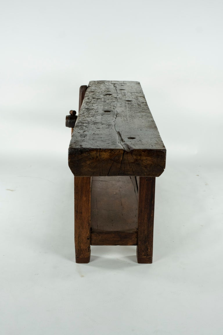 19th Century Chestnut Workbench Console For Sale 7